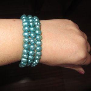 Honora Teal Bangle Bracelet Set